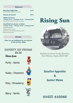 The Rising Sun smaller appetites and children's menu