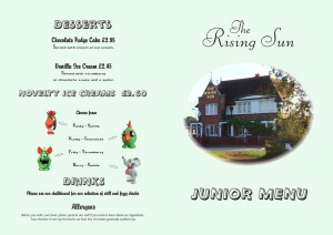 The Rising Sun Children's Menu