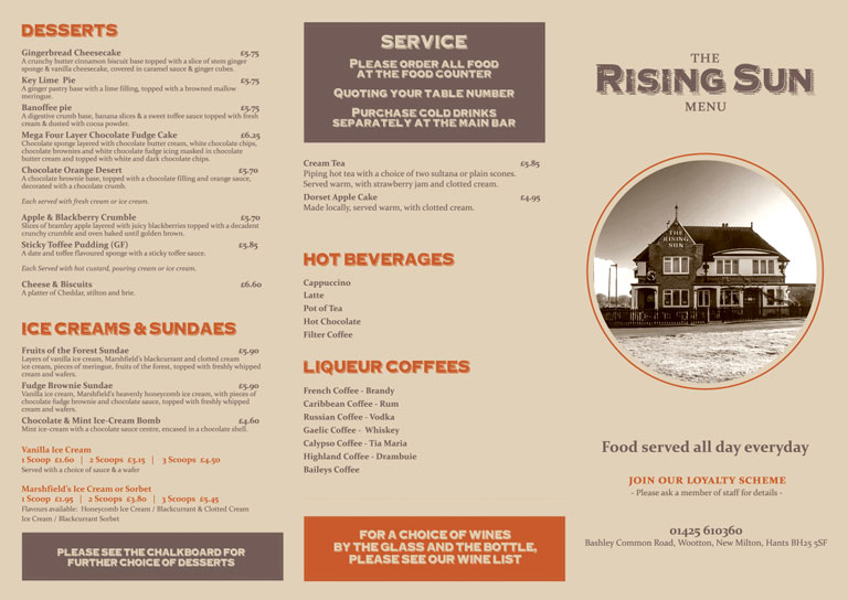 The Rising Sun Menu