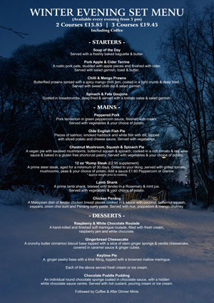 Rising Sun Winter Evening Menu